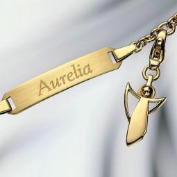 Bracelet gravé avec Ange Gardien Charm 585/- or jaune poli
