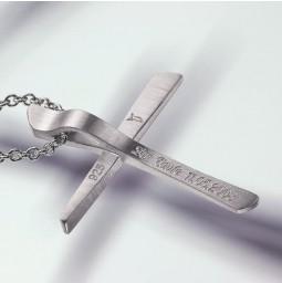 Croix Pendentif 750 or blanc poli