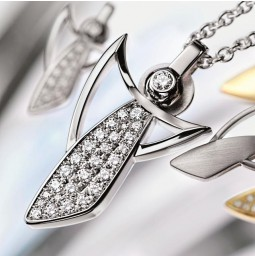 Ange Gardien LUXE - Or blanc poli avec pavé serti diamants