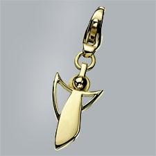 Bijoux, Pendentif, Charm, 750, or, jaune, poli, à, la, naissance, base