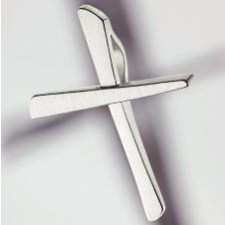 cross pendant 750 white gold brushed small small