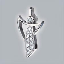 Bijoux, Pendentif, 750, or, blanc, mat, avec, pavé, de, brillants, pour, mamanbase