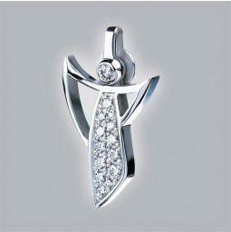 Guardian Angel 750/- white gold polished with pavé-set brillants