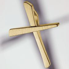 cross pendant 750 yellow gold brushed small