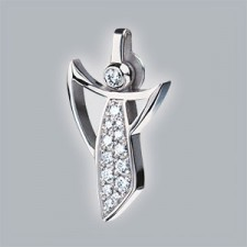 guardian angel pendant 750 white gold brushed with pave set brillants small