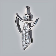 guardian angel pendant 950 platinum brushed with pave set brillants small