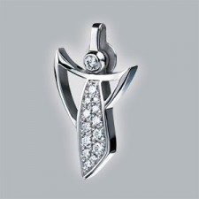 guardian angel pendant 950 platinum polished with pave set brillants small