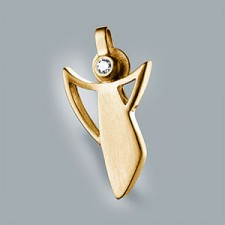 guardian angel pendant 750 yellow gold brushed with brillant small