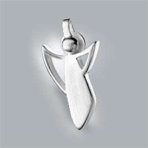 guardian angel pendant 925 silver brushed small