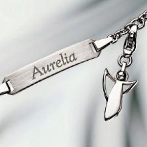 plata pulsera grabada con grabado ángel charm plata 925