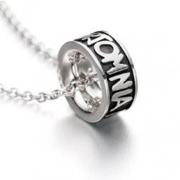 Omnia Christening Ring 925 silver with silver necklace