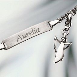 Engraving Bracelet & Angel Charm Pendant 925 silver polished
