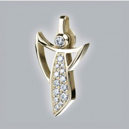 Guardian Angel 750/- yellow gold polished with pavé-set brillants