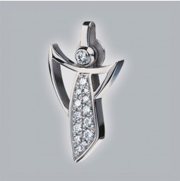 Guardian Angel pendant 950 platinum brushed with pavé-set brillants
