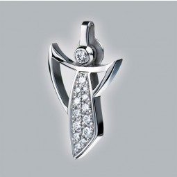 Angel pendant 950 platinum polished with pavé-set brillants