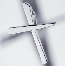 Cross pendant silver 925 brushed - small
