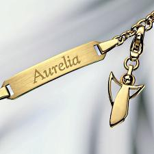 gold bracelet with engraving and angel charm 585 gold