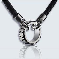 bague avec chaîne collier omnia relief argent 42cm