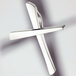 Cross pendant 750 white gold polished - small