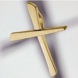 Cross pendant 585 yellow gold brushed - small