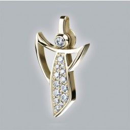 Angel pendant 750 yellow gold brushed with pavé-set brillants