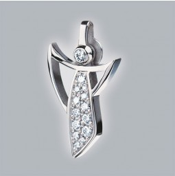 Angel pendant 750 white gold brushed with pavé-set brillants
