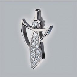 Angel pendant 950 platinum brushed with pavé-set brillants