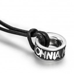 Omnia Christening Necklace silver 925 with leather necklace