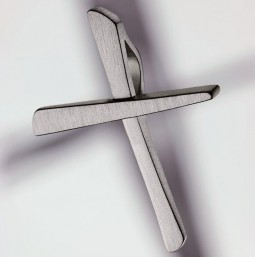 Cross pendant 950 platinum brushed - small