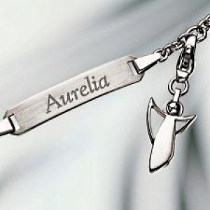 silver bracelet with engraving and angel charm 925 silver